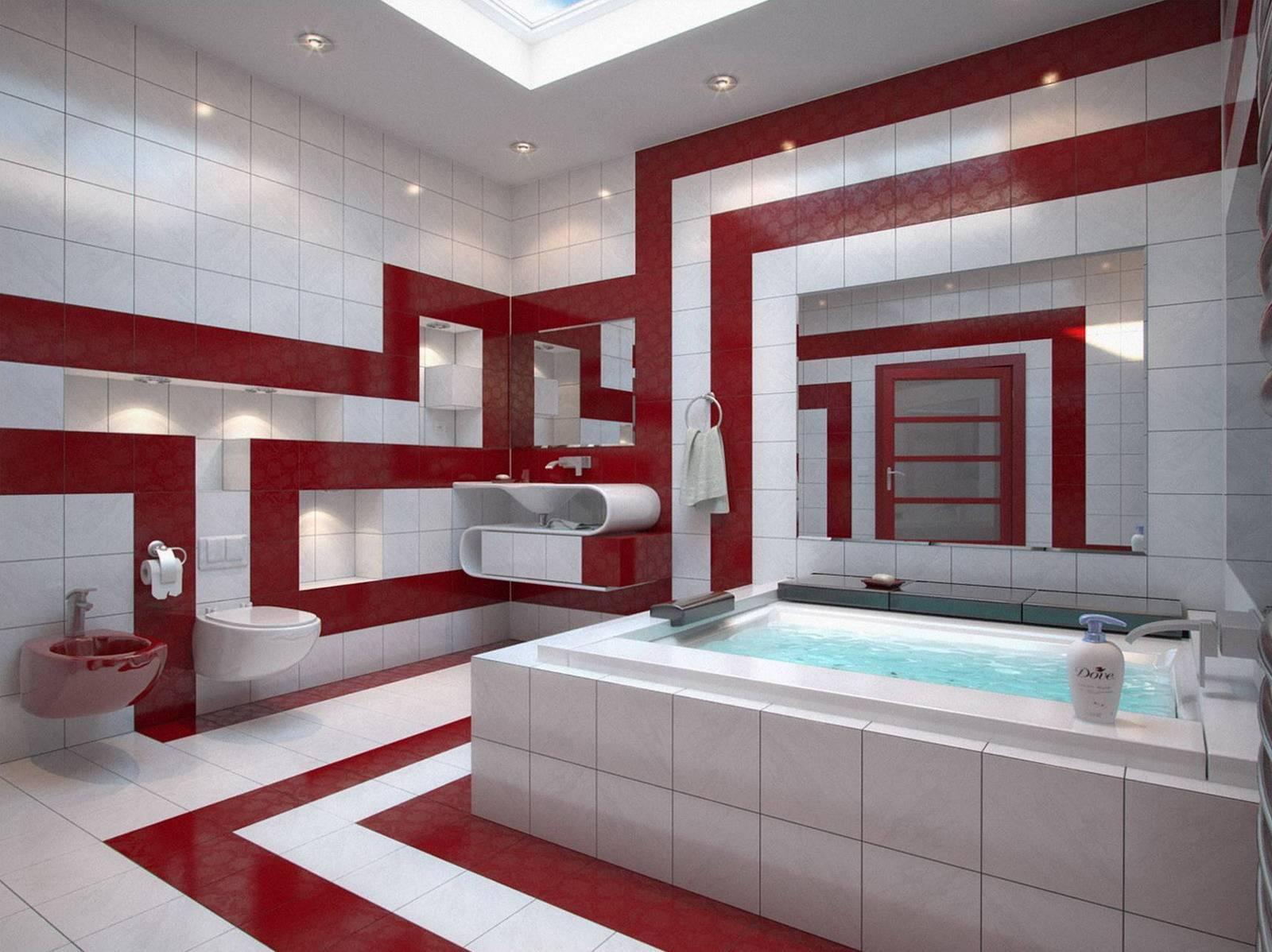 Ванная комната в красном цвете мифы и